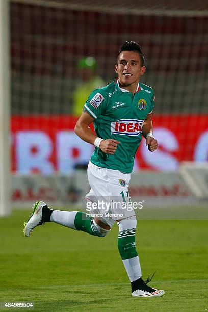 Bryan Carrasco of Audax Italiano celebrates after scoring the second goal of his team against U de Chile during a match between U de Chile and Audax...