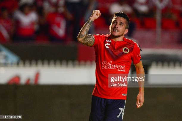 Bryan Carrasco of Veracruz celebrates after scoring the first goal for his team during the 12th round match between Veracruz and Toluca as part of...