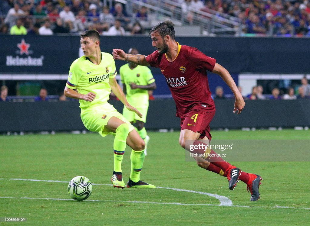 Bryan Christante #4 of Roma tries to set up a shot on goal in the second half of a soccer match against Barcelona at AT&T Stadium on July 31, 2018 in Arlington, Texas.