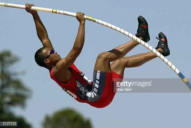 Bryan Clay competes in the decathlon pole vault during the USA Outdoor Track and Field Championships at Stanford University's Cobb Track and Angell...