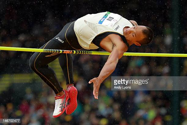 Bryan Clay competes in the high jump portion of the decathalon during Day One of the 2012 US Olympic Track Field Team Trials at Hayward Field on June...