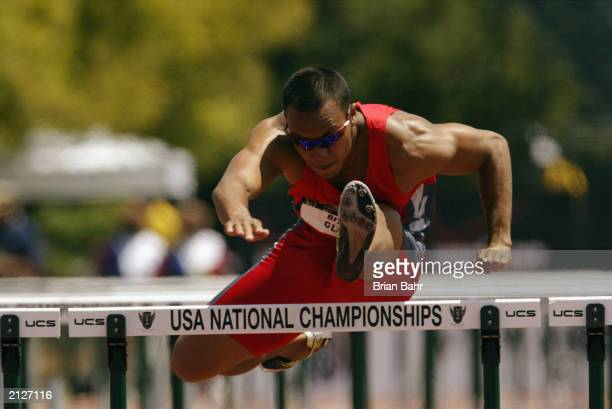 Bryan Clay competes in the men's 110m hurdles during the USA Outdoor Track and Field Championships at Stanford University's Cobb Track and Angell...