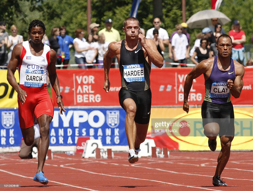 US Bryan Clay (R) competes with teammate Trey Hardee (C) and Yordanis Garcia (L) of Cuba in the 100 meter event at the first day of the Men's decathlon meeting held in Goetzis, Austria on May 29, 2010 some 640 kilometers west of Vienna.