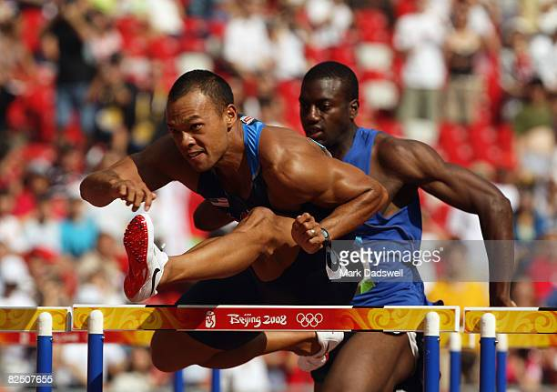 Bryan Clay of the United States competes in the 110m Hurdles of the Men's Decathlon at the National Stadium on Day 14 of the Beijing 2008 Olympic...