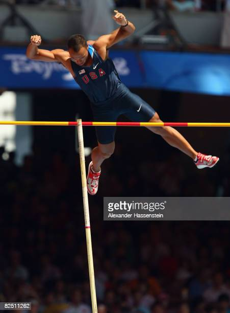 Bryan Clay of the United States competes in the Pole Vault discipline of the Men's Decathlon at the National Stadium on Day 14 of the Beijing 2008...