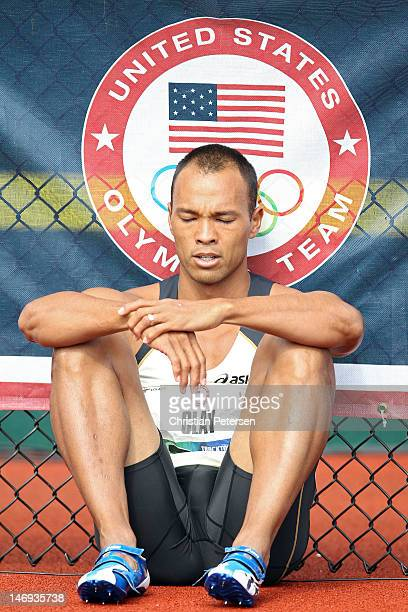 Bryan Clay reacts after getting disqualified in the men's decathlon 110 meter hurdles during Day Two of the 2012 US Olympic Track Field Team Trials...