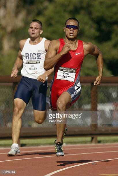 Bryan Clay runs in the decathlon 400m during the USA Outdoor Track and Field Championships at Cobb Track and Angell Field at Stanford University on...