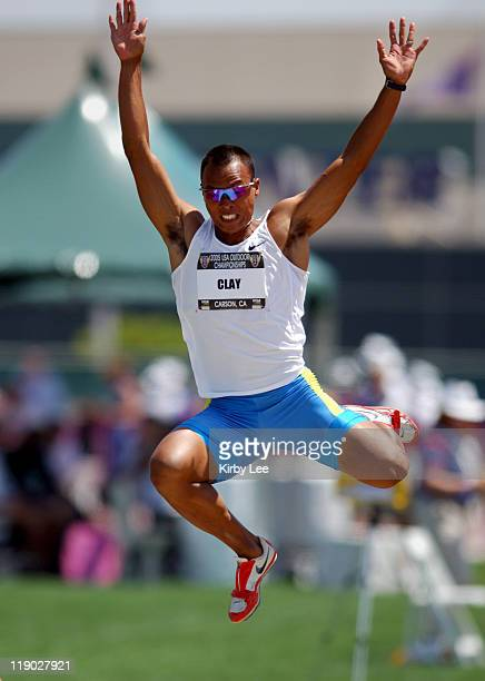 Bryan Clay sails 24-5 for the top mark in the decathlon long jump in the USA Track & Field Championships at the Home Depot Center in Carson,...