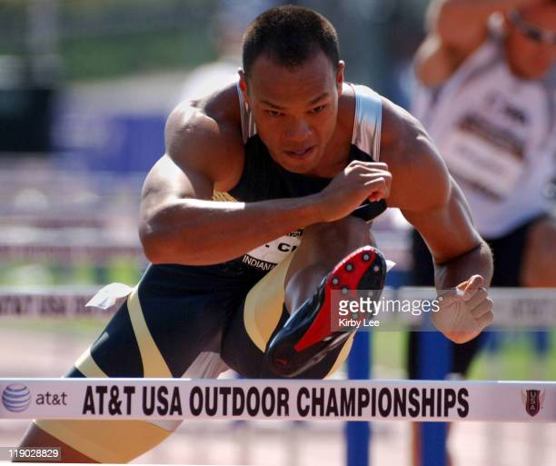 Bryan Clay timed 14.34 in the decathlon 110-meter high hurdles for 931 points in the USA Track & Field Championships at IUPUI's Michael A. Carroll...