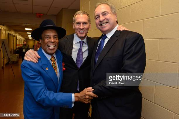 Bryan Colangelo Ernie Grunfeld and Sonny Hill talk before the game between the Washington Wizards and the Philadelphia 76ers on November 29 2017 at...