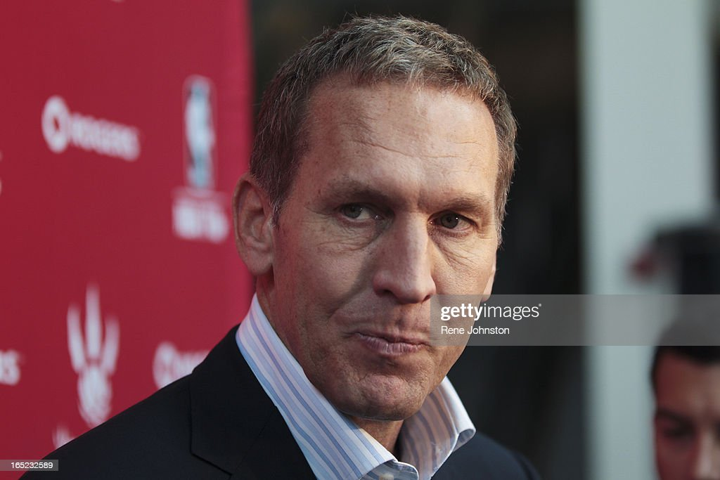 Bryan Colangelo talks to media about Jonas Valaciunas after he arrived in Toronto. : News Photo