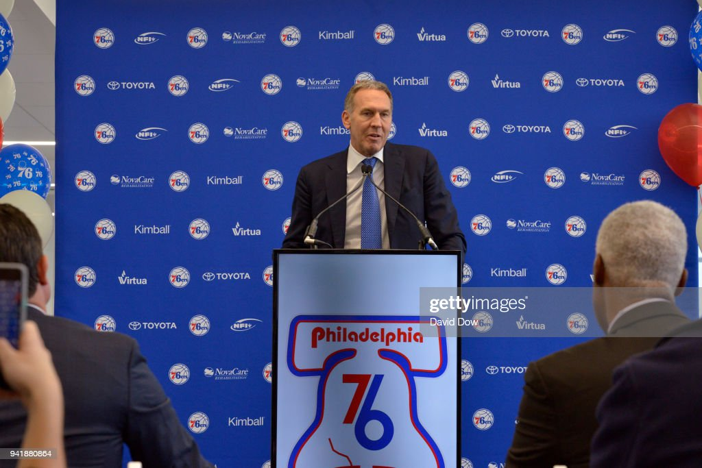 Bryan Colangelo talks to the media during the announment of the unveiling of the Doctor J sculpture on April 3, 2018 at the Legends Walk at the practice facility in Camden, New Jersey.