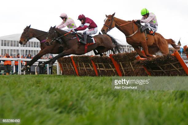 Bryan Cooper riding Appleâs Jade clear the last to win The OLBG Maresâ Hurdle Race at Cheltenham racecourse on day one of the festival meeting on...