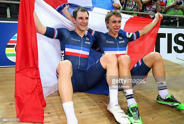 Bryan Coquard and Morgan Kneisky of France celebrate winning the gold medal in the Men's Madison Final during Day Five of the UCI Track Cycling World...