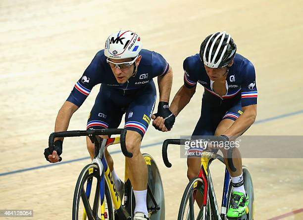Bryan Coquard and Morgan Kneisky of France do a change over as they win the gold medal in the Men's Madison Final during Day Five of the UCI Track...