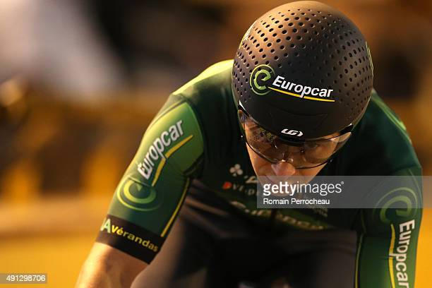 Bryan Coquard competes in the Omnium Flying Lap during the French Cycling Championships at the Velodrome of Bordeaux on October 4 2015 in Bordeaux...