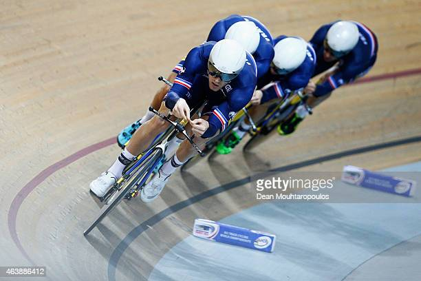Bryan Coquard Julien Duval Damien Gaudin and Julien Morice of Cycling Team France compete in the Mens Team Pursuit first round race during day 2 of...
