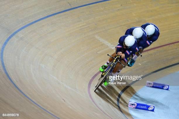 Bryan COQUARD / Julien DUVAL / Damien GAUDIN / Julien MORICE France Poursuite par equipes Cyclisme sur piste Championnats du Monde Saint Quentin En...