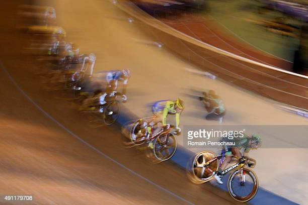 Bryan Coquard Nicolas Legras and Kevin Rezza during the final of Scratch of France's Cycling Championships at the Velodrome of Bordeaux on October 3...