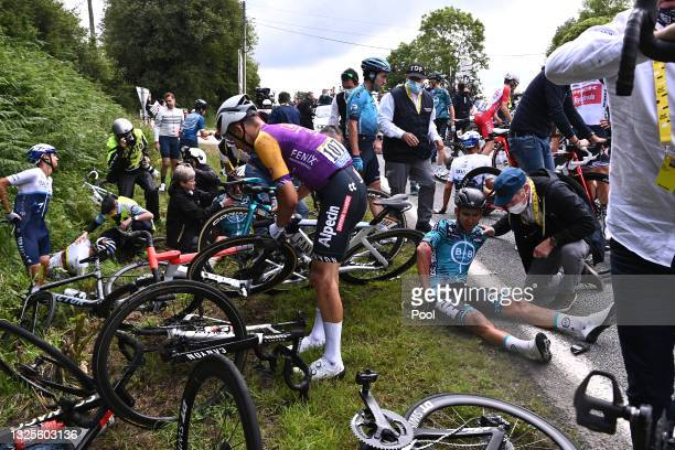 Bryan Coquard of France and Team B&B Hotels p/b KTM & Kristian Sbaragli of Italy and Team Alpecin-Fenix injury after crash during the 108th Tour de...