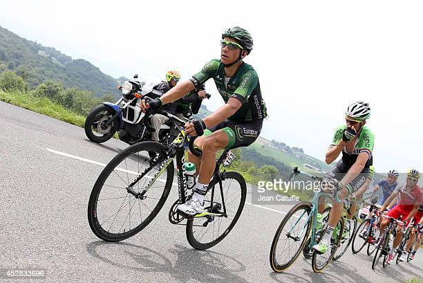 Bryan Coquard of France and Team Europcar leads the race during stage eighteen of the 2014 Tour de France a 146 km road stage from Pau to Hautacam on...