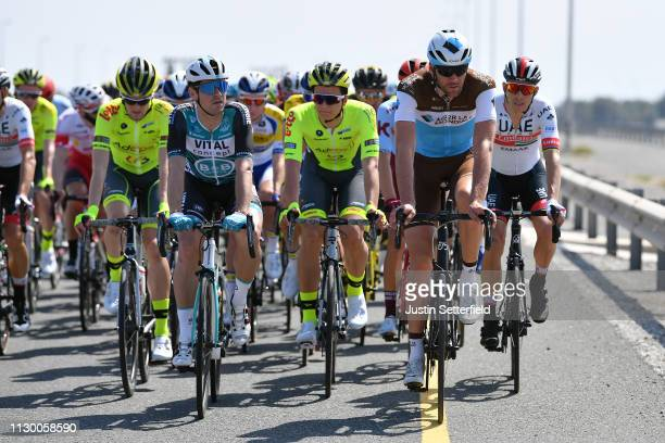 Bryan Coquard of France and Team Vital Concept BB Hotels / Stijn Vandenbergh of Belgium and Team AG2R La Mondiale / during the 10th Tour of Oman 2019...