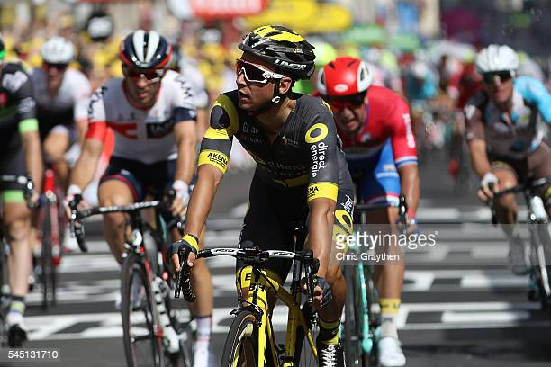 Bryan Coquard of France riding for Direct Energie crosses the finish line following stage four of the 2016 Le Tour de France a 2375km stage from...