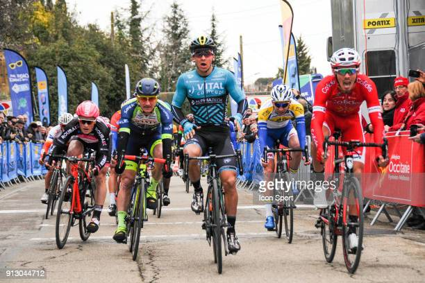 Bryan coquard of Vital concept and Christophe Laporte of Cofidis during Stage 2 of Etoile de Besseges from Nimes to Generac on February 1 2018 in...