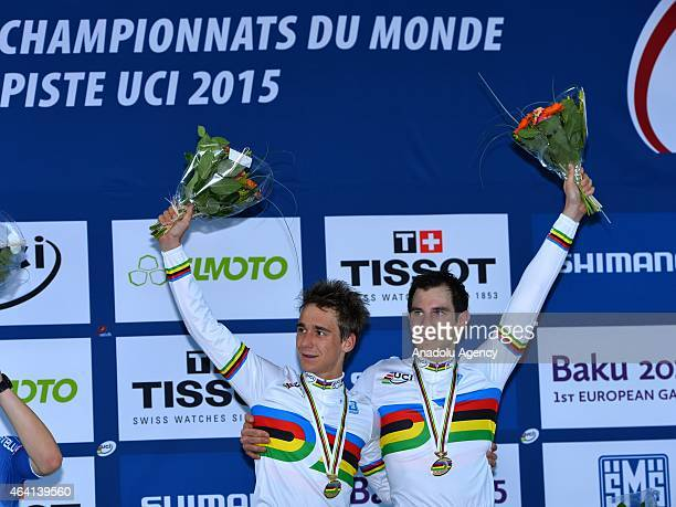 Bryan Coquard ve Morgan Kneisky of France celebrate winning the gold medal in the Men's Madison Final during Day Five of the 2015 UCI Track Cycling...