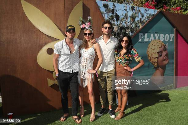 Bryan Craig Roxy Olin Lincoln Younes and Justina Ajorna attend the Pool Party at Playboy Social Club on April 14 2018 in Palm Springs California
