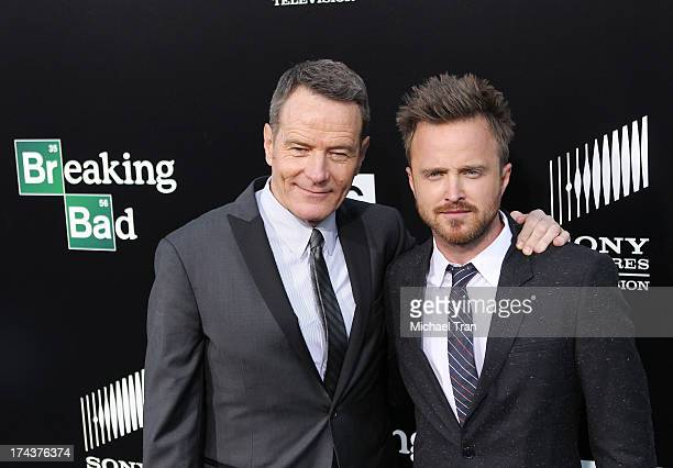 Bryan Cranston and Aaron Paul arrive at AMC's 'Breaking Bad' special premiere event held at Sony Pictures Studios on July 24 2013 in Culver City...