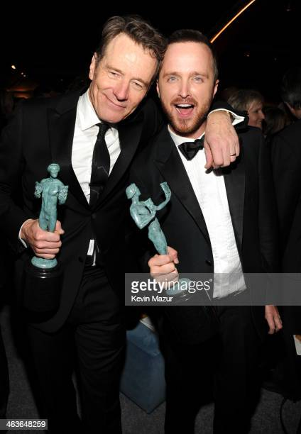 Bryan Cranston and Aaron Paul attend PEOPLE/EIF 20th Anniversary SAG Awards Gala at The Shrine Auditorium on January 18 2014 in Los Angeles California