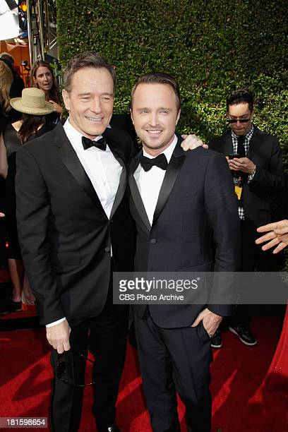 Bryan Cranston and Aaron Paul from Breaking Bad on the red carpet for the 65th Primetime Emmy Awards  which will be broadcast live across the...