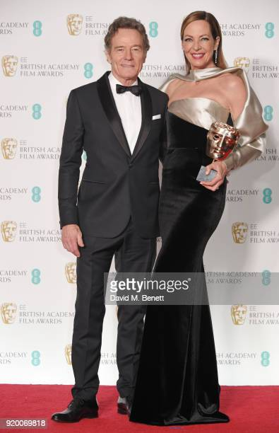 Bryan Cranston and Allison Janney winner of the Best Supporting Actress award for 'I Tonya' pose in the press room during the EE British Academy Film...