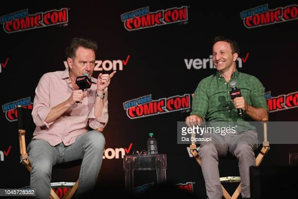 Bryan Cranston and Breckin Meyer speak onstage at the Sony Crackle Presents SuperMansion panel during New York Comic Con 2018 at Jacob K Javits...