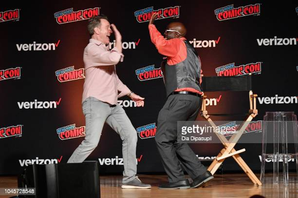 Bryan Cranston and Gary Anthony Williams speak onstage at the Sony Crackle Presents SuperMansion panel during New York Comic Con 2018 at Jacob K...