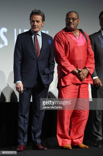 Bryan Cranston and Laurence Fishburne attend the intro for the premiere of 'Last Flag Flying' during the 55th New York Film Festival at Alice Tully...