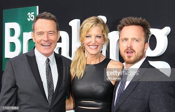 """Bryan Cranston, Anna Gunn and Aaron Paul attend the """"Breaking Bad"""" Los Angeles Premiere at Sony Pictures Studios on July 24, 2013 in Culver City,..."""