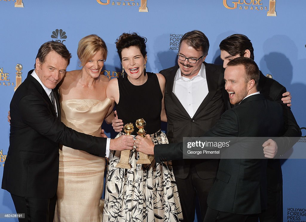 Bryan Cranston, Anna Gunn, Betsy Brandt, Vince Gilligan, RJ Mitte, and Aaron Paul pose in the press room during the 71st Annual Golden Globe Awards held at The Beverly Hilton Hotel on January 12, 2014 in Beverly Hills, California.