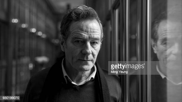Image has been converted to black and white Bryan Cranston attends the Olivier Awards nominations celebration at Rosewood Hotel on March 9 2018 in...