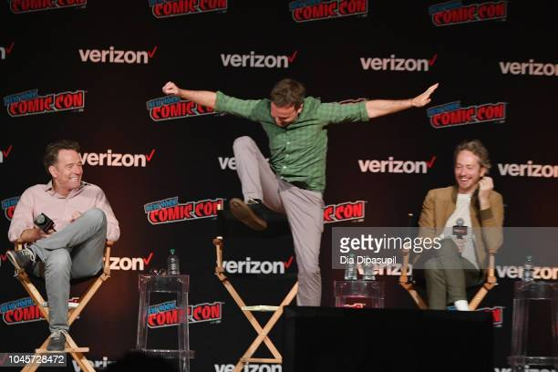 Bryan Cranston Breckin Meyer and Zeb Wells speak onstage at the Sony Crackle Presents SuperMansion panel during New York Comic Con 2018 at Jacob K...