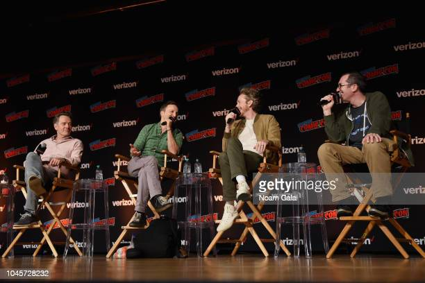 Bryan Cranston Breckin Meyer Zeb Wells and Matthew Senreich speak onstage at the Sony Crackle Presents SuperMansion panel during New York Comic Con...