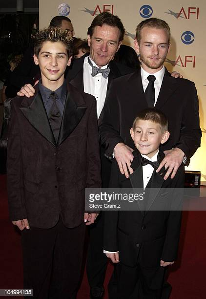 Bryan Cranston Justin Berfield Christopher Masterson and Erik Per Sullivan arriving at the AFI Awards 2001 at the Beverly Hills Hotel in Beverly...