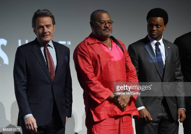 Bryan Cranston Laurence Fishburne and J Quinton Johnson attend the intro for the premiere of Last Flag Flying during the 55th New York Film Festival...