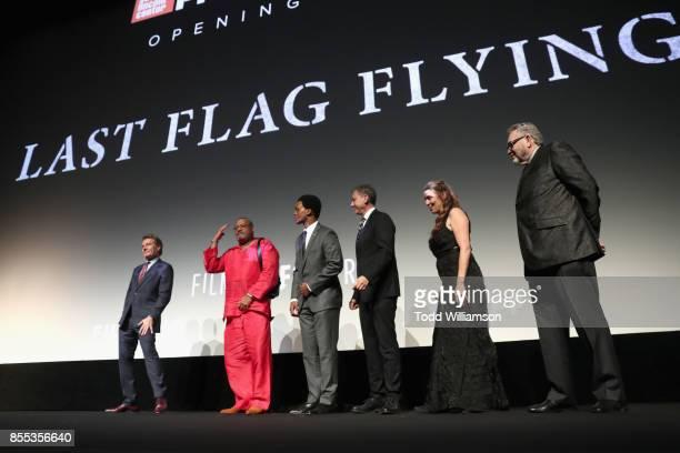 Bryan Cranston Laurence Fishburne J Quinton Johnson John Sloss Ginger Sledge and Darryl Ponicsan speak onstage during the Last Flag Flying NYFF World...