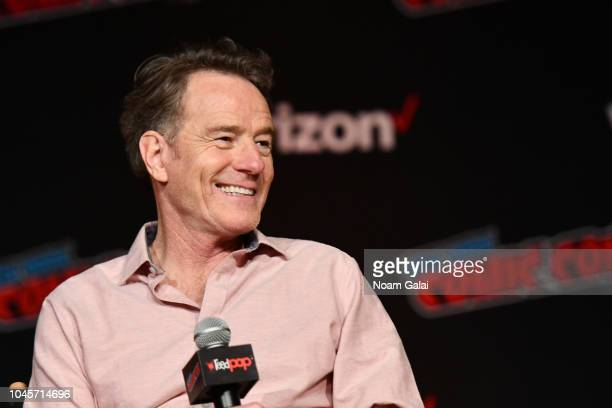 Bryan Cranston speaks onstage at the Sony Crackle Presents SuperMansion panel during New York Comic Con 2018 at Jacob K Javits Convention Center on...