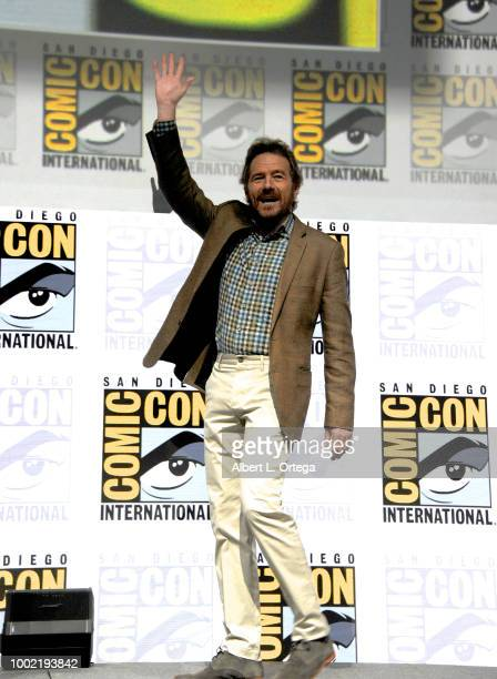 Bryan Cranston speaks onstage during the 'Breaking Bad' 10th Anniversary Celebration during ComicCon International 2018 at San Diego Convention...
