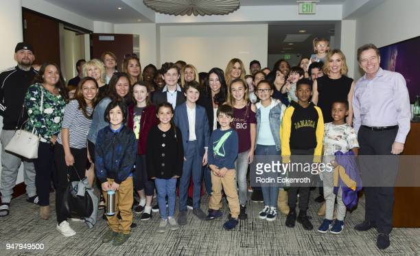 Bryan Crantson Kyan Zielinski Gabriel Bateman and Erinn Hayes pose for portrait at The Moms hosted Mamarazzi special screening of an episode of The...