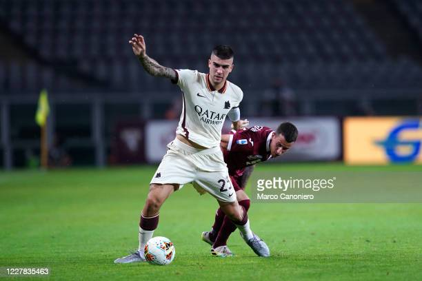 Bryan Cristante of As Roma and Alejandro Berenguer of Torino FC in action during the Serie A match between Torino Fc and As Roma As Roma wins 32 over...