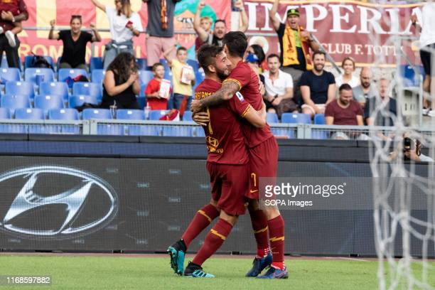 Bryan Cristante of As Roma celebrates after scoring a goal during the Serie A match between AS Roma and Sassuolo at Olimpico Stadium